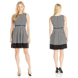 Calvin Klein Houndstooth Fit and Flare Dress #0042